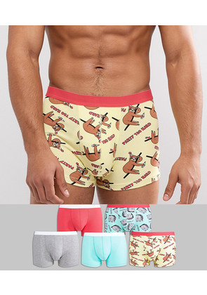 ASOS Trunks With Chinchillin Print 5 Pack - Multi