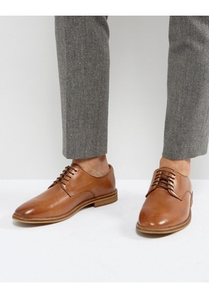 ASOS Derby Shoes In Tan Leather With Natural Sole - Tan