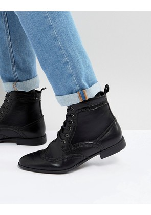 ASOS Brogue Boots In Black Faux Leather - Black