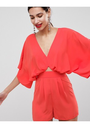 ASOS DESIGN Playsuit With Kimono Sleeve And Cut Out - Coral pink