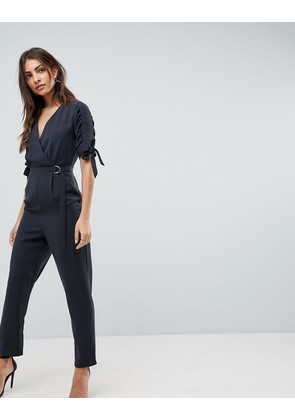 ASOS Jumpsuit with Wrap Front and D-Ring Detail - Black
