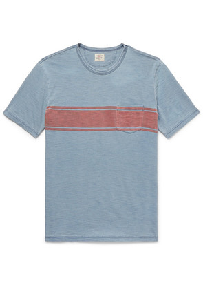 Faherty - Striped Slub Cotton-jersey T-shirt - Blue