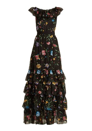 Fairytale floral-embroidered silk-organza gown