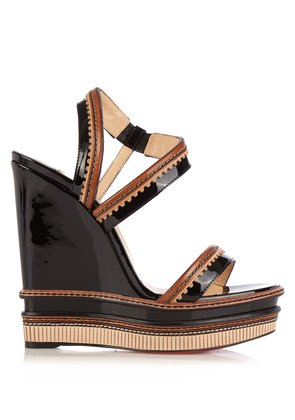 Trepi 140mm patent-leather wedge sandals