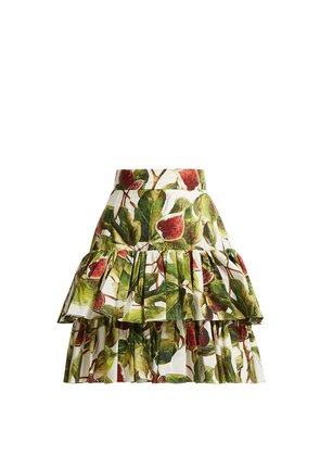 Fig-print tiered cotton skirt