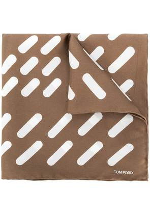 Tom Ford striped square scarf - Brown