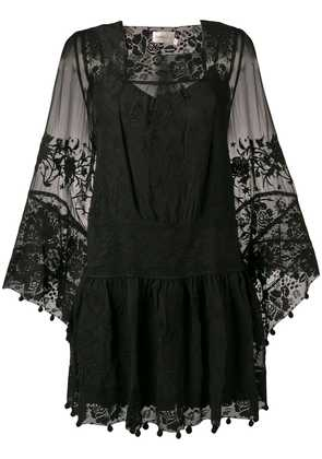 Zimmermann lace-embroidered shift dress - Black