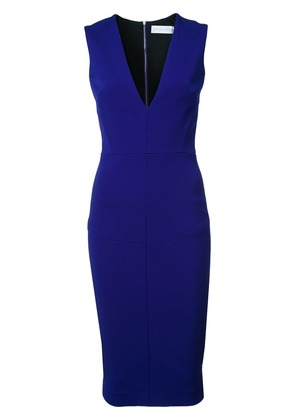 Victoria Beckham v-neck fitted dress - Blue