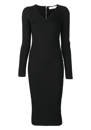 Victoria Beckham ribbed V-neck dress - Black