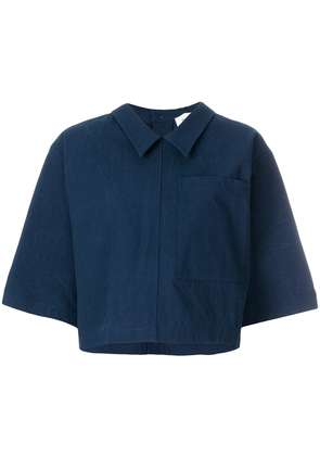 Thom Browne Button Back Polo Shirt In Salt Shrink Cotton - Blue