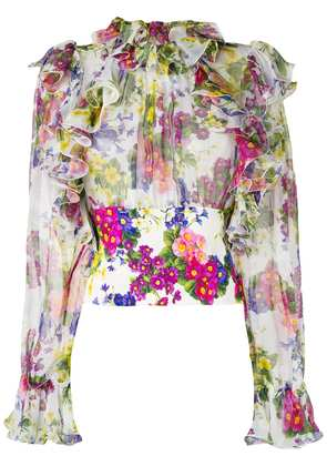 Dolce & Gabbana floral ruffled blouse - White