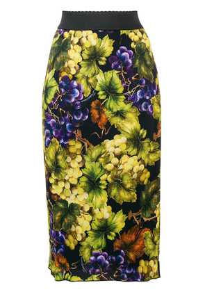Dolce & Gabbana grape print pencil skirt - Black