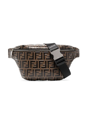 Fendi Logo Embossed Cross-Body Bag - Brown