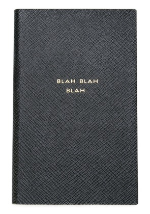 Smythson 'Blah Blah Blah' Panama notebook - Black
