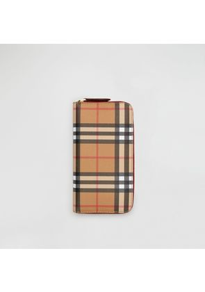 Burberry Vintage Check and Leather Ziparound Wallet, Red