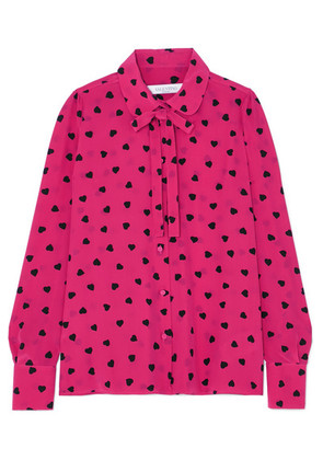 Valentino - Pussy-bow Printed Silk Blouse - Bright pink