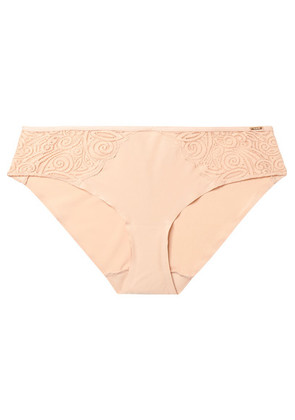 Chantelle - Pyramide Stretch-jersey And Lace Briefs - Sand