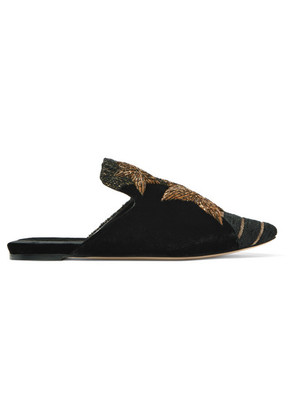 Sanayi 313 - Stelle Collage Embroidered Velvet And Tweed Slippers - Black