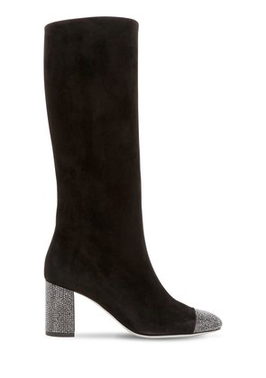 75MM SUEDE & SWAROVSKI TALL BOOTS