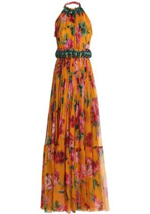 Dolce & Gabbana Woman Tie-back Embellished Floral-print Silk-chiffon Gown Orange Size 40