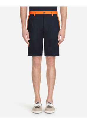 Dolce & Gabbana Trousers - STRETCH COTTON BERMUDA SHORTS WITH SIDE BANDS BLUE