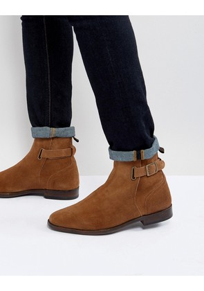 ASOS Chelsea Boots In Tan Suede With Leather Panel And Strap Detail - Tan