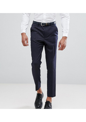 ASOS TALL Tapered Suit Trousers In Navy Pinstripe - Navy