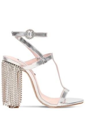 100MM SWAROVSKI METALLIC LEATHER SANDALS