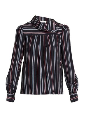 Striped high-neck silk blouse