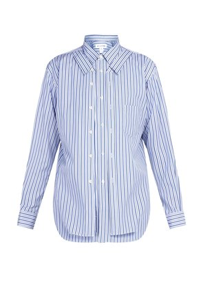 Double-layer striped cotton shirt