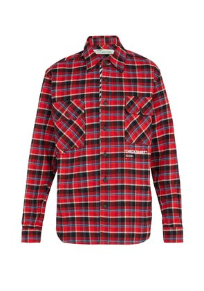 Checked cotton-blend flannel shirt