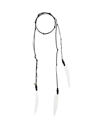 Ann Demeulemeester Blanche hanging feather necklace - Black