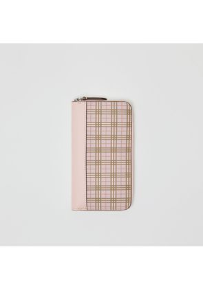 Burberry Small Scale Check and Leather Ziparound Wallet, Pink