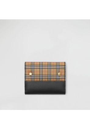 Burberry Small Scale Check and Leather Folding Wallet, Yellow