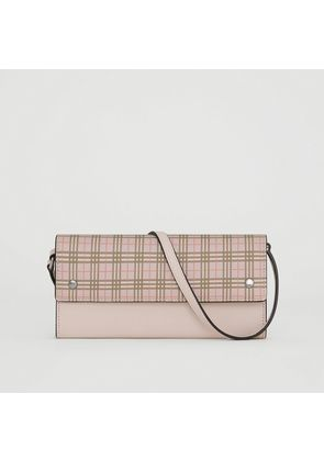 Burberry Small Scale Check Wallet with Detachable Strap, Pink