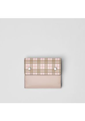 Burberry Small Scale Check and Leather Folding Wallet, Pink