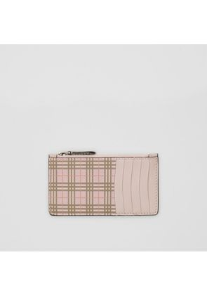 Burberry Small Scale Check and Leather Card Case, Pink