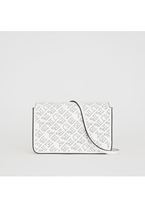 Burberry Perforated Logo Leather Wallet with Detachable Strap, White