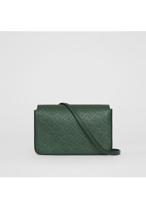 Burberry Perforated Logo Leather Wallet with Detachable Strap, Green