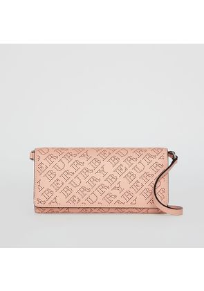 Burberry Perforated Logo Leather Wallet with Detachable Strap, Pink