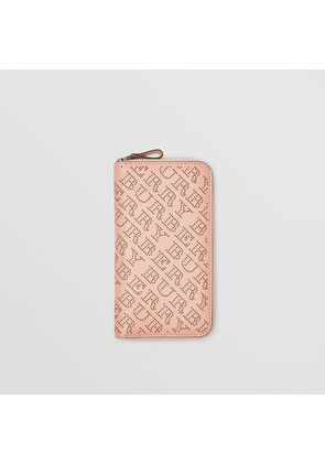 Burberry Perforated Leather Ziparound Wallet, Pink