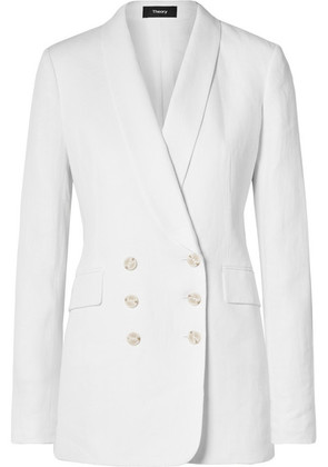 Theory - Double-breasted Linen Blazer - White