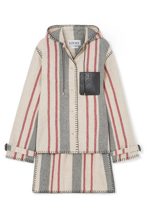 Loewe - Hooded Striped Leather-trimmed Wool-canvas Jacket - Ivory