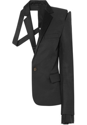 Unravel Project - Deconstructed Satin-trimmed Silk And Cotton-blend Twill Blazer - Black