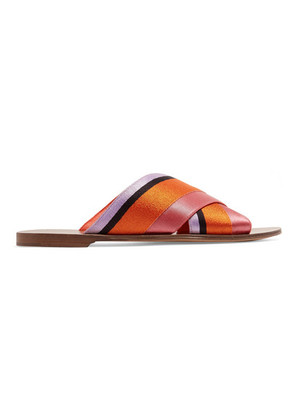 Diane von Furstenberg - Bailie Satin Slides - Orange