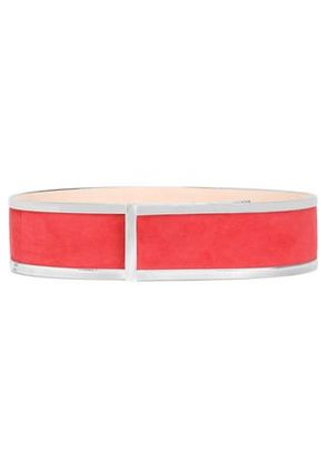 Balmain Woman Leather-trimmed Suede Belt Red Size 34