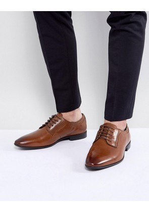 ASOS Lace Up Derby Shoes In Tan Leather - Tan