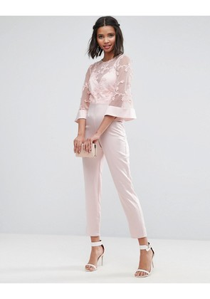 ASOS Jumpsuit with Lace Bodice and Contrast Satin Trouser - Smokey pink