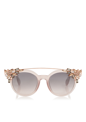 VIVY Pink Round Framed Sunglasses with Detachable Jewel Clip On