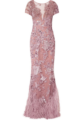 Zuhair Murad - Feather-trimmed Embellished Silk-blend Tulle Gown - Antique rose
